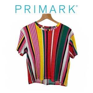 Primark Wide Striped Colorful Boxy Cropped Top